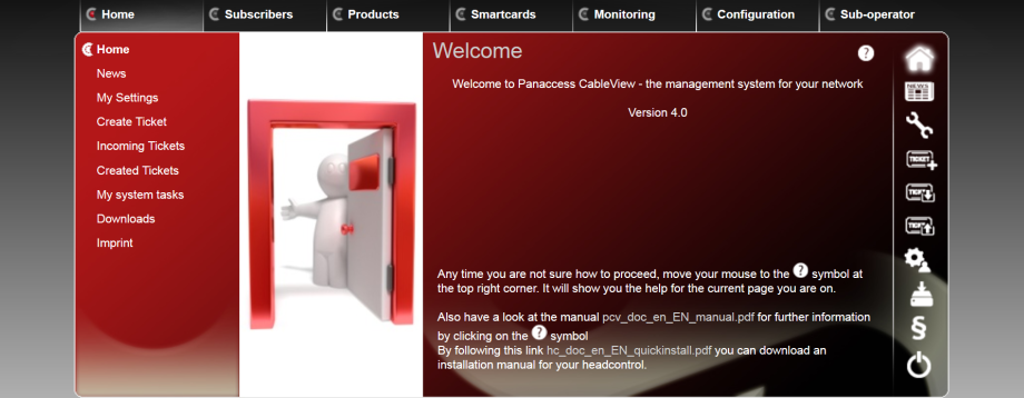 User Interface of the Cableview Software