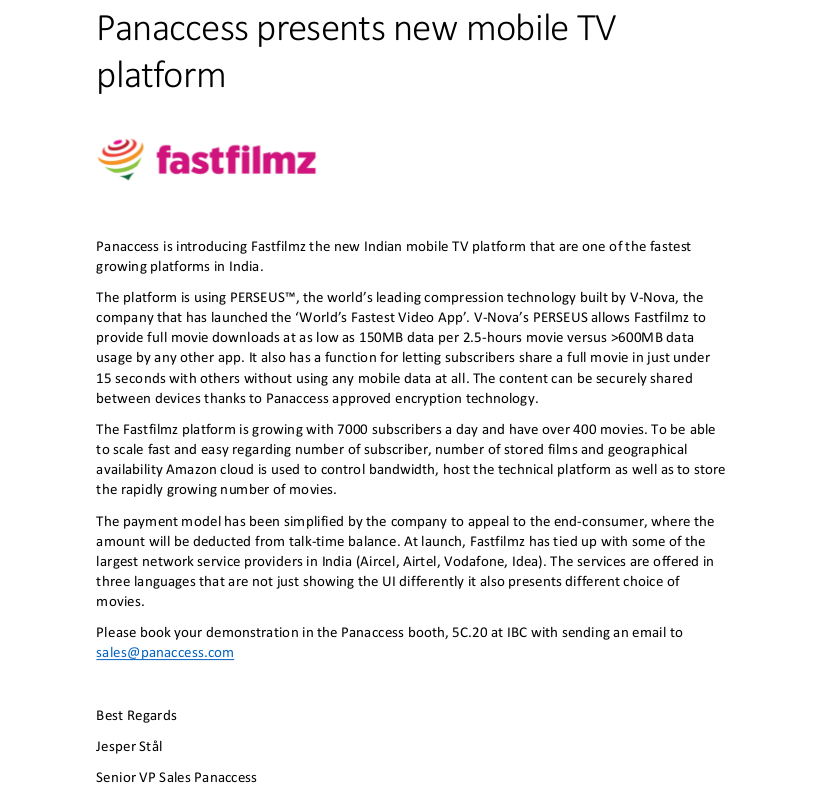 Panaccess and Fastfilmz press-release
